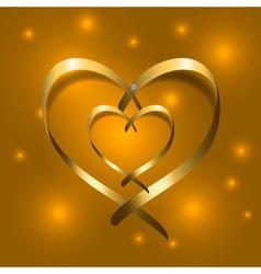 Two Gold silk ribbon hearts Golden couple satin vector image