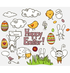 easter doodle vector image vector image