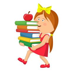 little girl carrying stack books with red apple vector image vector image