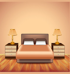 Modern bedroom interior with large bed vector image vector image
