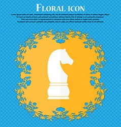 Chess knight icon icon Floral flat design on a vector image vector image