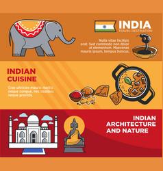 india tourism travel famous landmark symbols vector image vector image