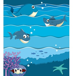 Sea animals under the ocean vector image vector image