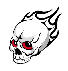 skull with flames tattoo vector image