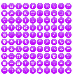 100 tackle icons set purple vector