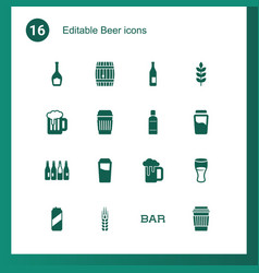 16 beer icons vector