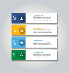 4 steps of infographic with blue yellow sky blue vector image