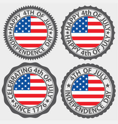 4th of july usa independence day label set vector image