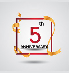 5 anniversary design with red color in square vector