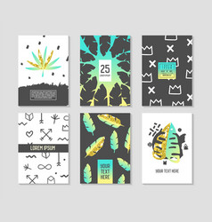 Abstract tropical poster templates set vector