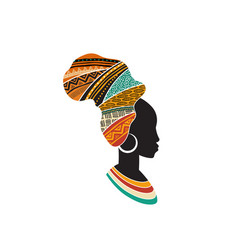 African woman silhouette with an african map as a vector