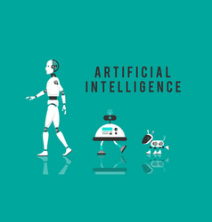 Ai diverse robot with high technology design vector