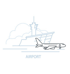 Airport terminal building and airplane on landing vector
