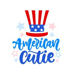 american cutie hand written ink lettering vector image
