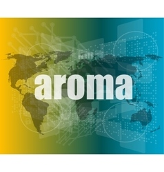 aroma word on digital screen mission control vector image