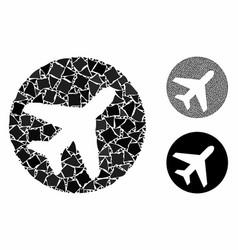 Avion mosaic icon irregular elements vector