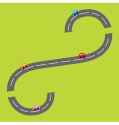 Background with grey road white marking vector