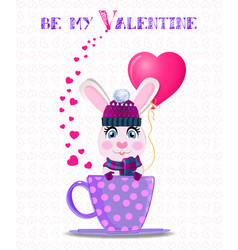 be my valentine card with cute rabbit in violet vector image
