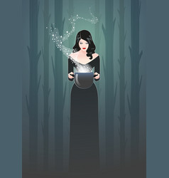 Beautiful retro styled woman holding a magic vector