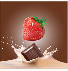 Beautiful strawberries chocolate and milk vector