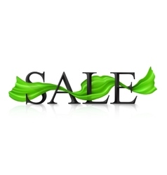 Black SALE sign with green silky ribbon vector image