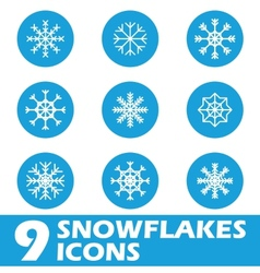 Blue snow flat icons vector image