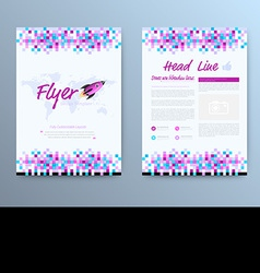 brochure template design with rocket star vector image