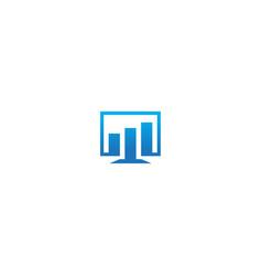 business graph monitor logo vector image