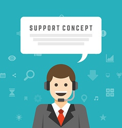 Business man support service concept and flat vector image