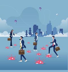 Business people walking among corona virus trap vector