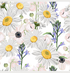 Camomile leaves and anemones flowers vector