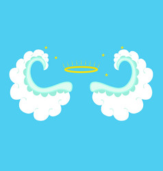 Cartoon angel wings on a blue background vector