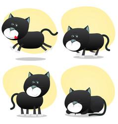 Cartoon black cat set vector
