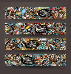 Cartoon doodles cinema horizontal banners vector