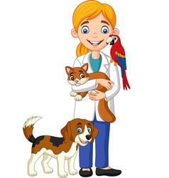 cartoon female veterinarian examining pets vector image