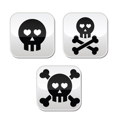 Cartoon skull with bones and hearts buttons vector image