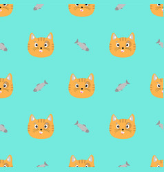 cat face snd fish vector image