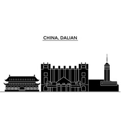 China dalian architecture urban skyline with vector