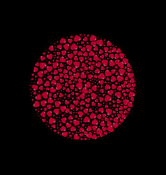 circle filled with hearts on a black background vector image