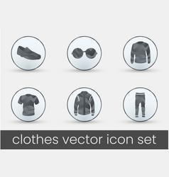 clothes icon set grey vector image