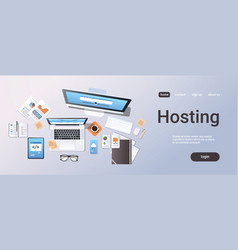 cloud data center computer connection hosting vector image