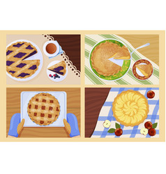 collection whole and slice pie top view vector image