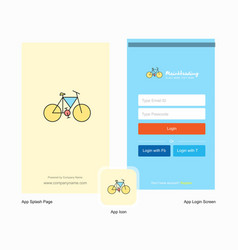 company cycle splash screen and login page design vector image