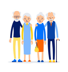 Couple older people two aged people stand elderly vector