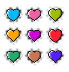 creative heart icon set halftone design vector image