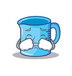 Crying measuring cup character cartoon vector