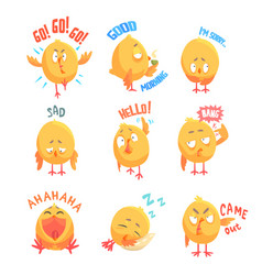 Cute cartoon chickens characters with different vector