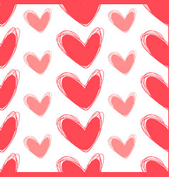cute doodle seamless pattern heart hand drawings vector image