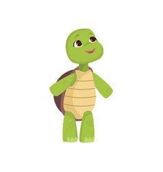 Cute little turtle looks up standing on hind legs vector