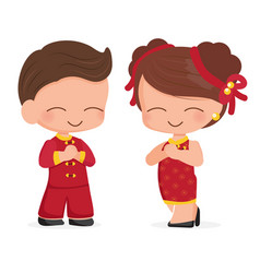 cute young couple in red chinese new year vector image